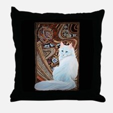 White Turkish Angora Throw Pillow