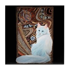 White Turkish Angora Tile Coaster