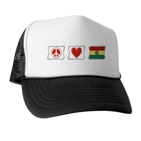 Peace, Love and Bolivia Trucker Hat