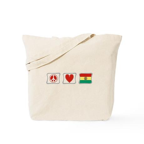 Peace, Love and Bolivia Tote Bag