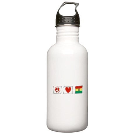 Peace, Love and Bolivia Stainless Water Bottle 1.0