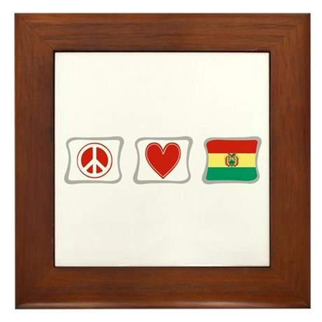 Peace, Love and Bolivia Framed Tile