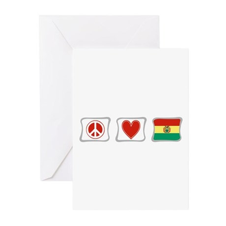 Peace, Love and Bolivia Greeting Cards (Pk of 10)