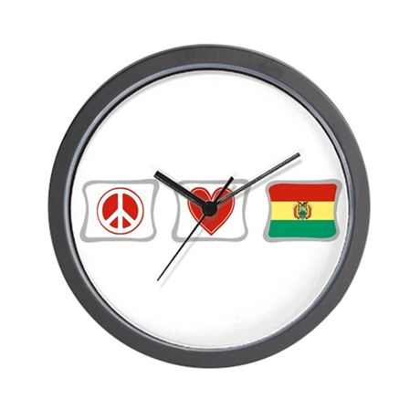 Peace, Love and Bolivia Wall Clock