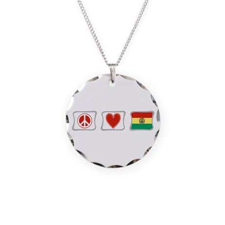 Peace, Love and Bolivia Necklace Circle Charm