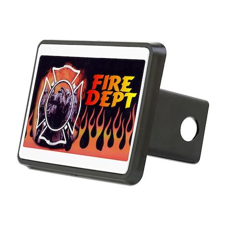 FIRE DEPT FLAMES Rectangular Hitch Coverle)