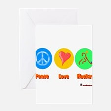 Peace Love Hockey 6000.png Greeting Card