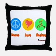 Peace Love Hockey 6000.png Throw Pillow