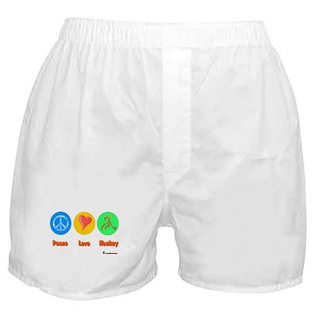 Peace Love Hockey 6000.png Boxer Shorts