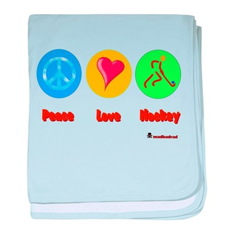 Peace Love Hockey 6000.png baby blanket