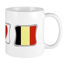 Peace, Love and Belgium Mug