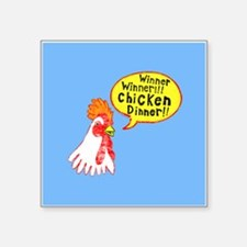 "Winner Chicken Dinner Square Sticker 3"" x 3"""