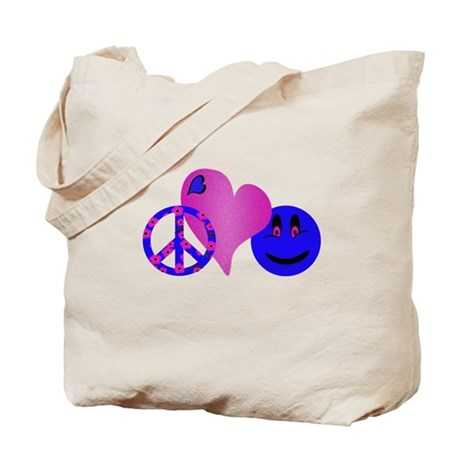 Blue Peace Love Happiness.png Tote Bag