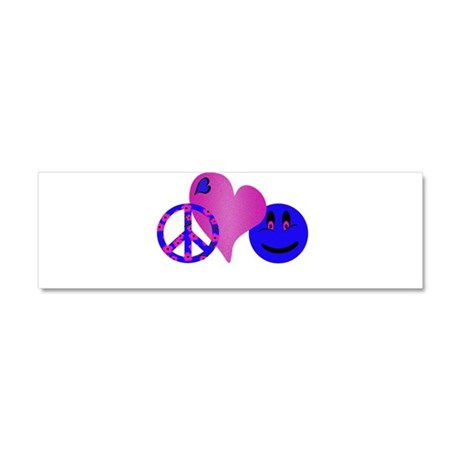 Blue Peace Love Happiness.png Car Magnet 10 x 3