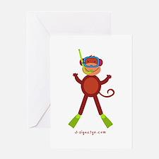 Monkey Snorkel Greeting Card