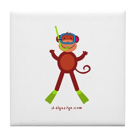 Monkey Snorkel Tile Coaster