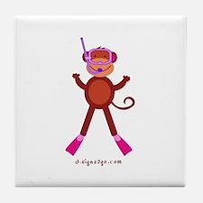 Monkey Snorkel - Pink Tile Coaster