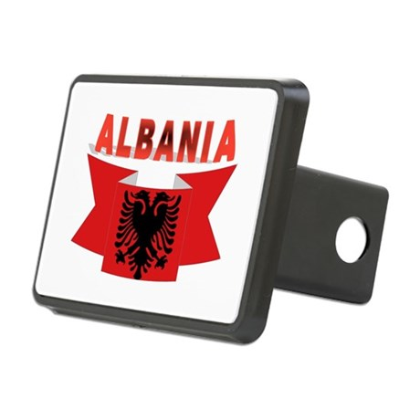 flag Albania Ribbon Rectangular Hitch Cover