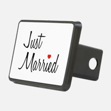 Just Married (Black Script w/ Heart) Hitch Cover