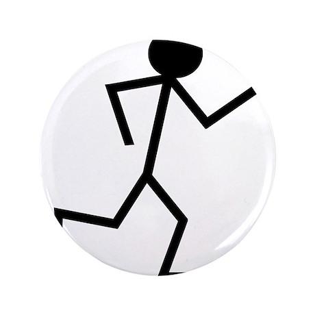 """Running Stickman.png 3.5"""" Button (100 pack)"""