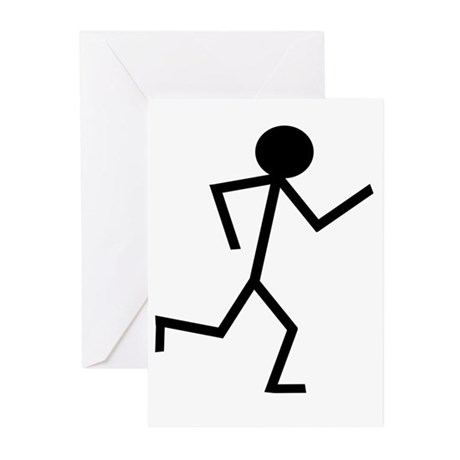 Running Stickman.png Greeting Cards (Pk of 10)