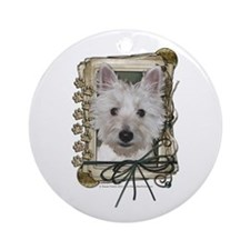 Fathers Day Stone Paws Westie Ornament (Round)