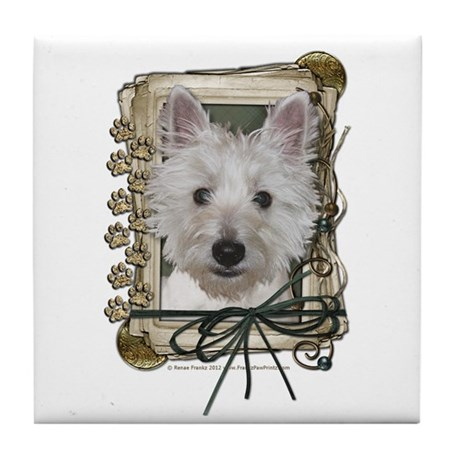 Fathers Day Stone Paws Westie Tile Coaster