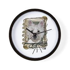 Fathers Day Stone Paws Westie Wall Clock