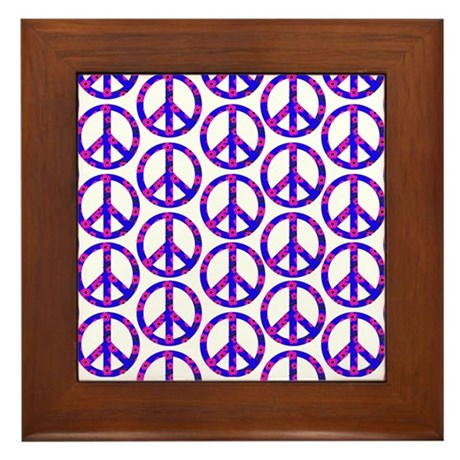 Peace Sign Print Pink Cherry Blossom.png Framed Ti