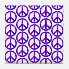 Peace Sign Print Pink Cherry Blossom.png Tile Coas