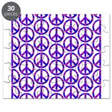 Peace Sign Print Pink Cherry Blossom.png Puzzle