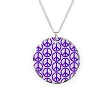 Peace Sign Print Pink Cherry Blossom.png Necklace