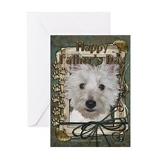 Fathers Day Stone Paws - Westie Greeting Card