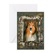 Fathers Day Stone Paws Sheltie Greeting Card