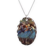 Dancers in Blue Necklace Oval Charm