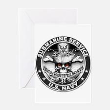 USN Submarine Service Skull Greeting Card