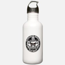 USN Submarine Service Skull Water Bottle