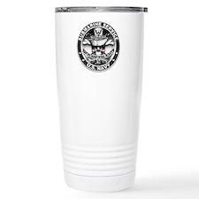 USN Submarine Service Skull Travel Mug