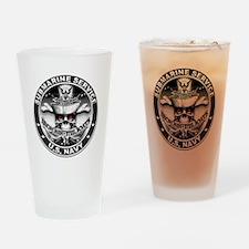 USN Submarine Service Skull Drinking Glass