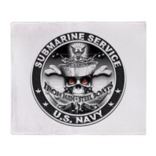 USN Submarine Service Skull Throw Blanket