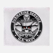 USN Submarine Service Skull Throw Blanket