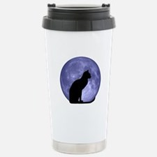 Black Cat, Blue Moon Stainless Steel Travel Mug