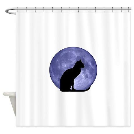 Black Cat, Blue Moon Shower Curtain