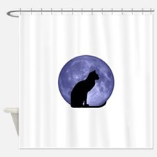 Black Cat, Blue Moon Shower Curtain