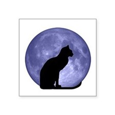 "Black Cat, Blue Moon Square Sticker 3"" x 3"""