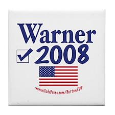 Mark Warner Vote Blue 2008 Tile Coaster