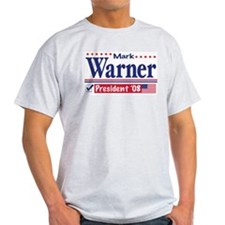 Mark Warner Vote Blue 2008 Ash Grey T-Shirt