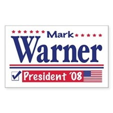 Mark Warner Vote Blue 2008 Rectangle Decal