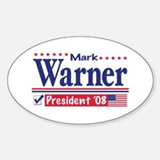 Mark Warner Vote Blue 2008 Oval Decal