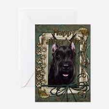 Fathers Day Stone Paws Schnauzer Greeting Card